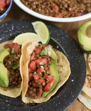 Plate with two lentil tacos