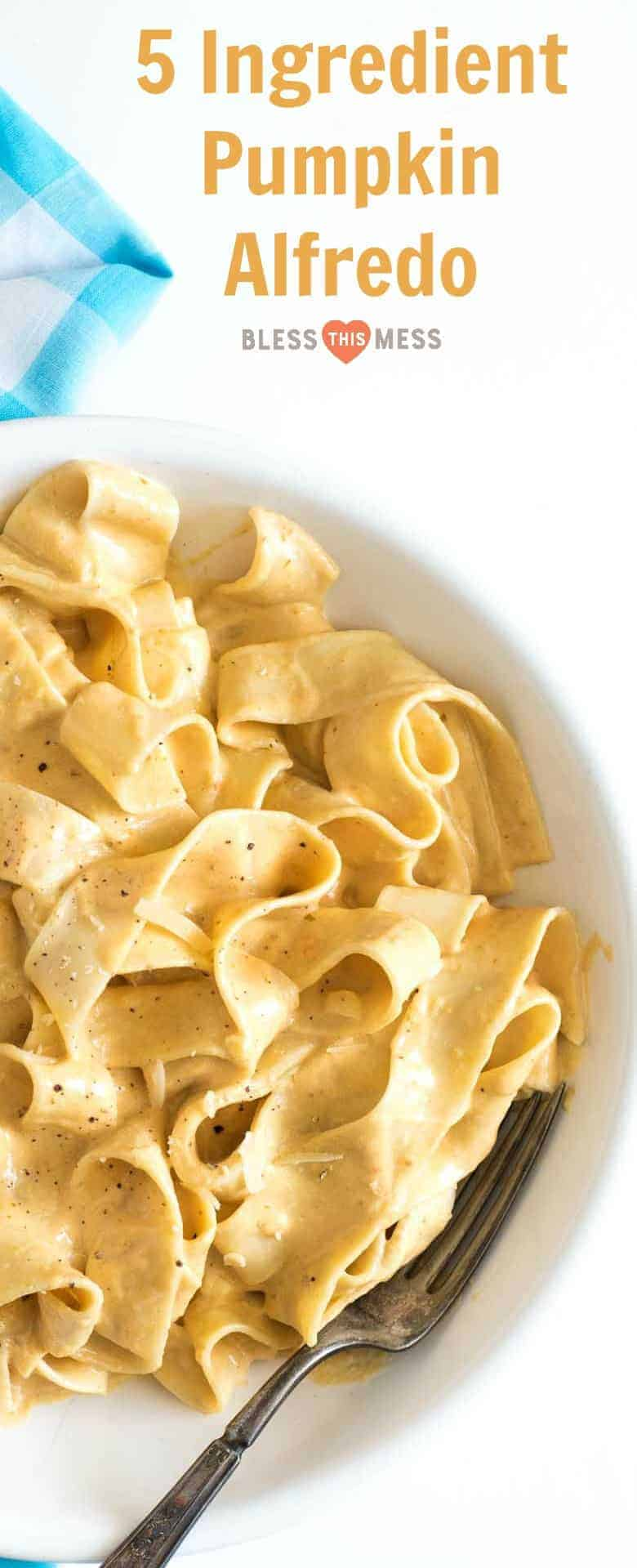 Thick and creamy pumpkin alfredo using canned pumpkin, cream, and garlic makes the perfect sauce for pasta.