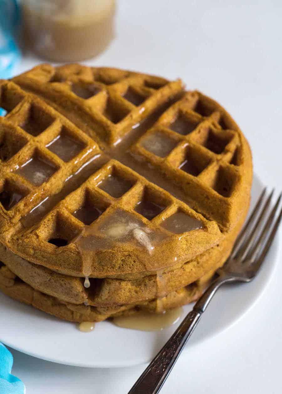 Healthy Whole Wheat Pumpkin Waffles Recipe