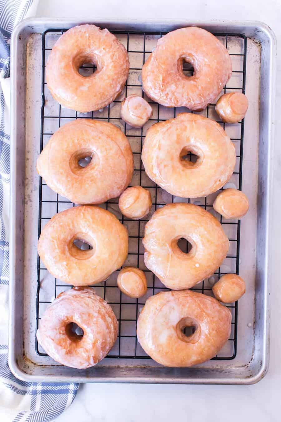 Rack of glazed donuts