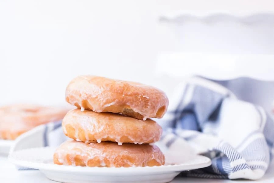 Stack of homemade glazed donuts
