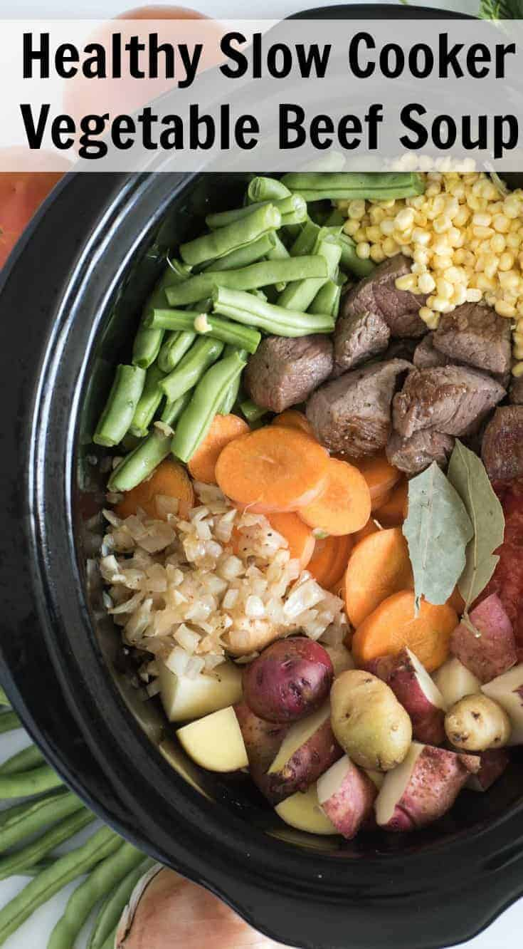 Slow Cooker Vegetable Beef Soup is simple to make, loaded with all your favorite vegetables, and is a hit with the whole family.