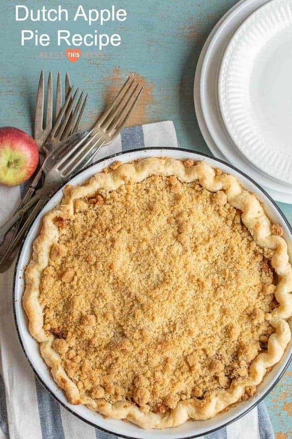 Simple dutch apple pie recipe made with fresh apples, a homemade crust, and a streusel topping with a secret ingredient: cornmeal!