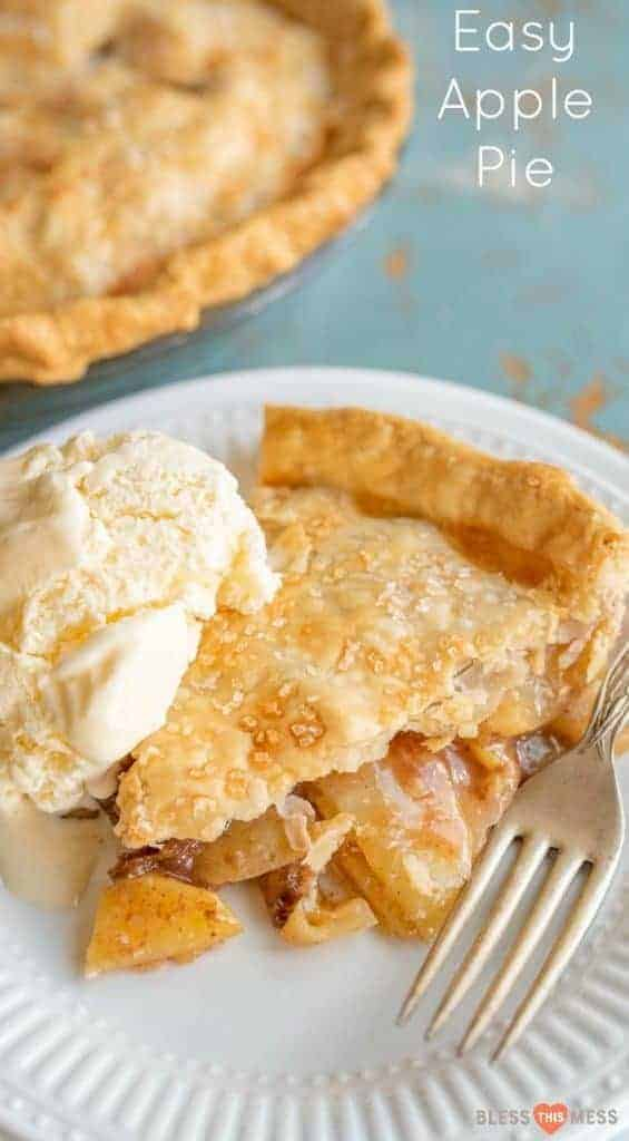Title Image for Easy Apple Pie and a plate with a slice of apple pie and vanilla ice cream