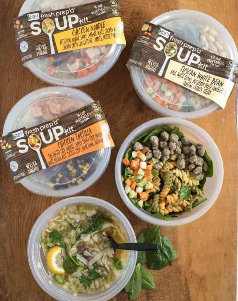 Several bowls of Fresh Prep'd Soup Kits