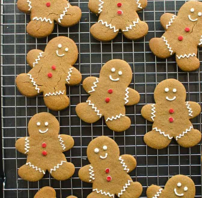 gingerbread cookies on a cooling rack