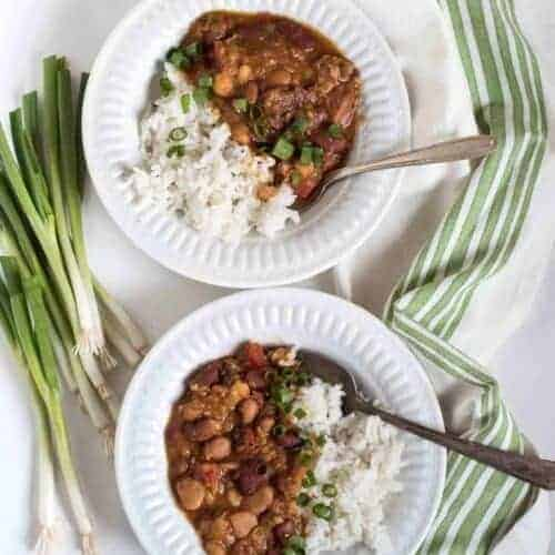 Instant Pot or Slow Cooker Cajun Beans and Rice Recipe