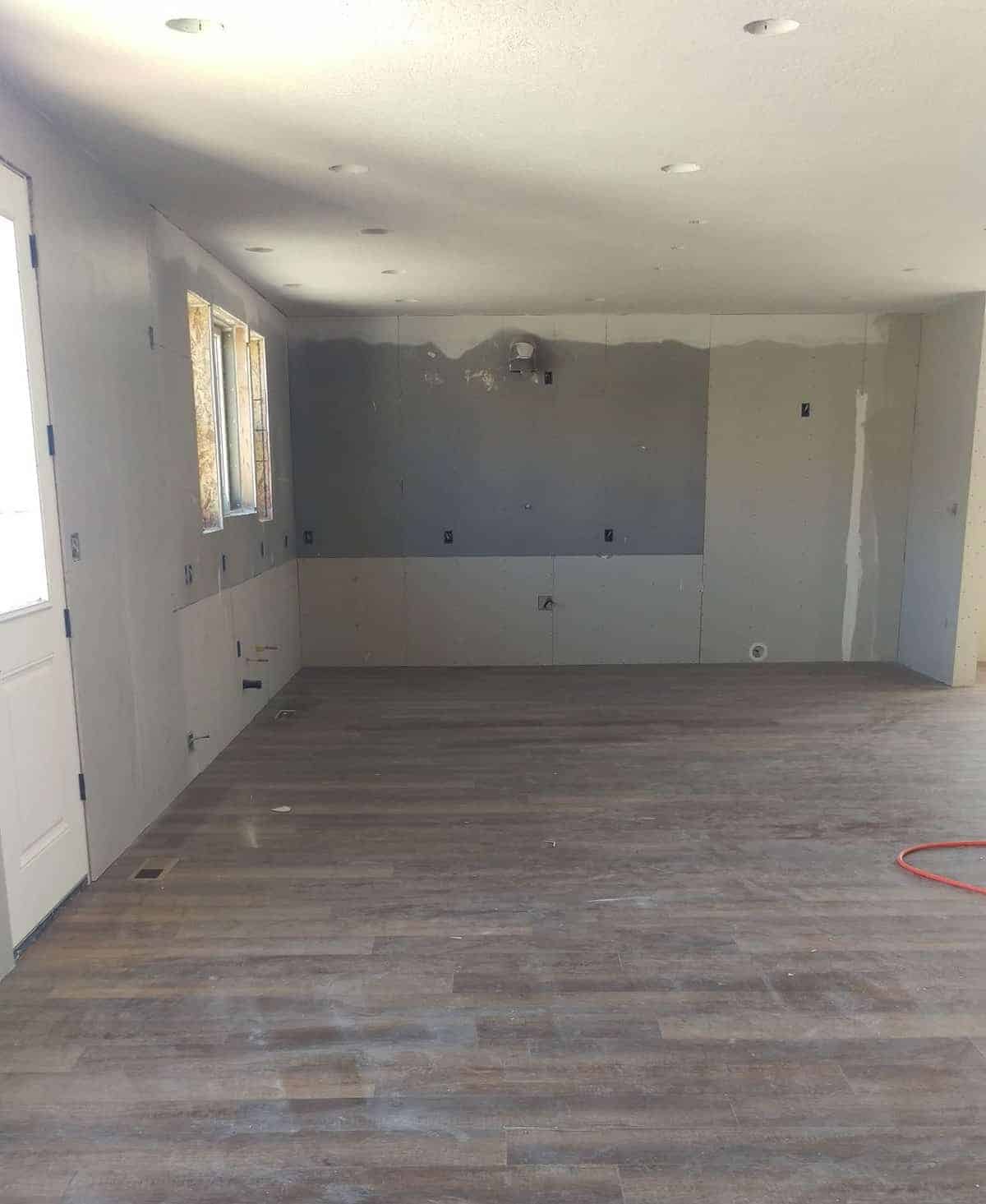 finished floors in a section of the house