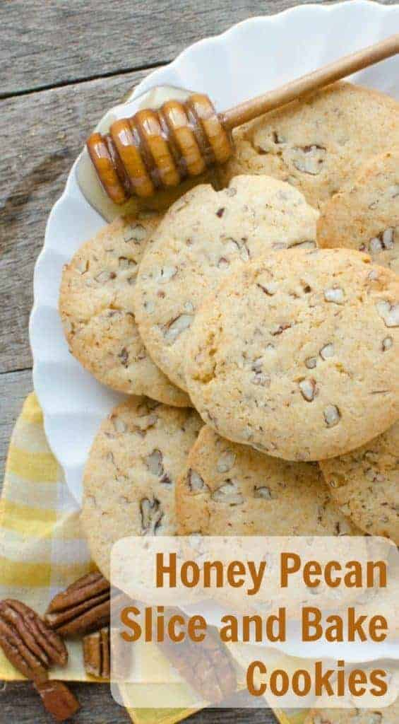 honey pecan cookies on a white plate with a yellow-checkered placemat