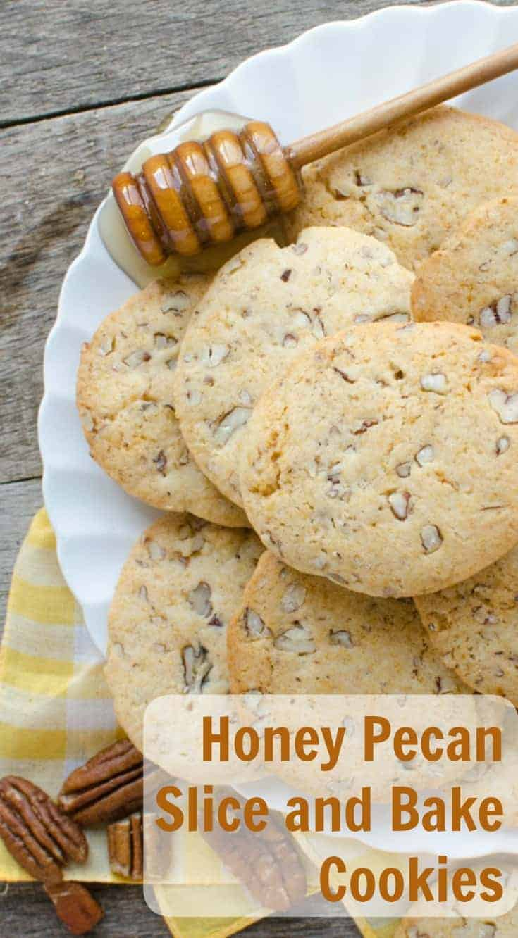 Honey Pecan Slice and Bake Cookies are simple to make and made with honey, pecans, and butter then rolled and sliced.