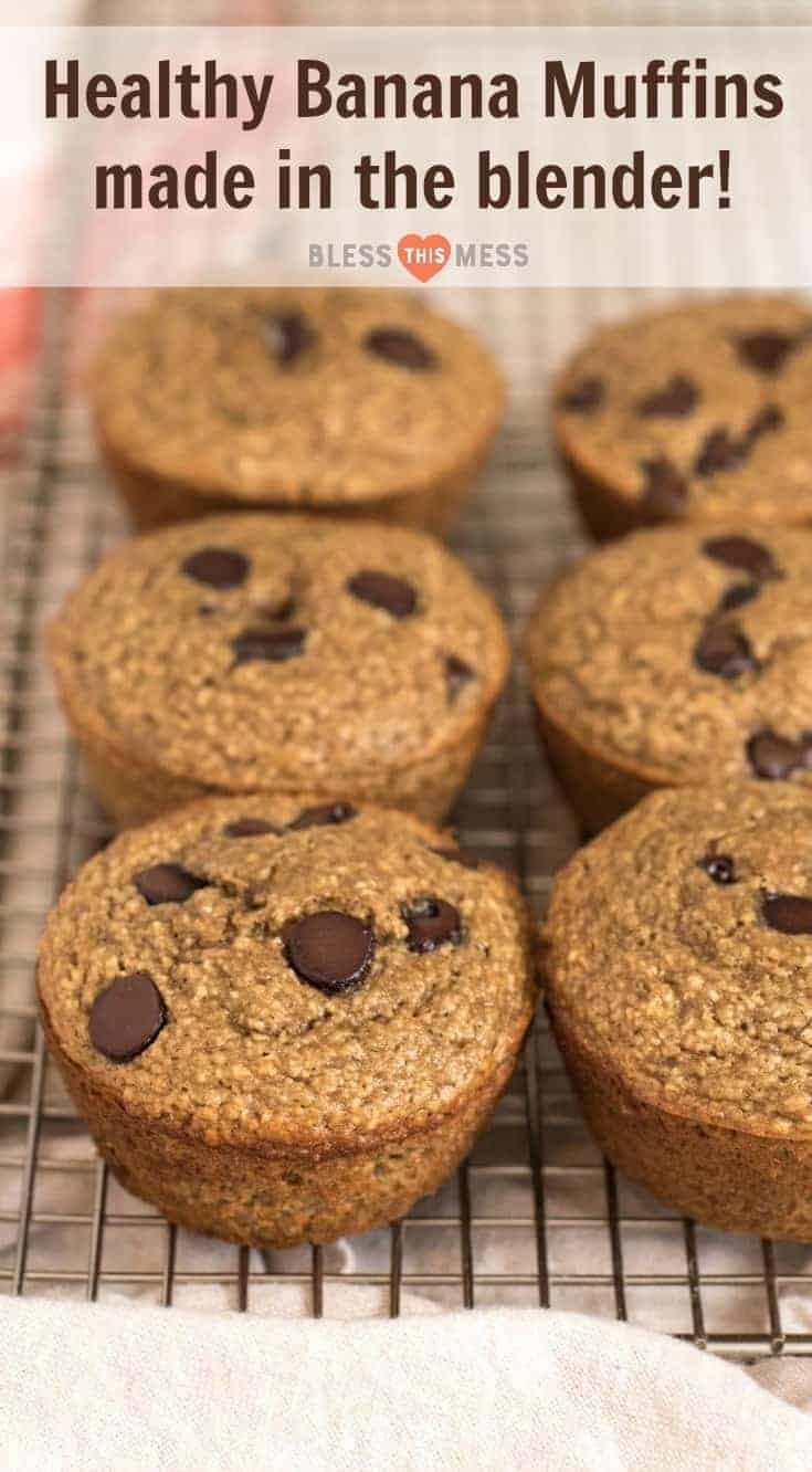 Quick and Easy Healthy Banana Muffins made in the blender with whole grain oats, maple syrup, Greek yogurt and more! Great for breakfast and snacks, and perfect for the kids to help with.