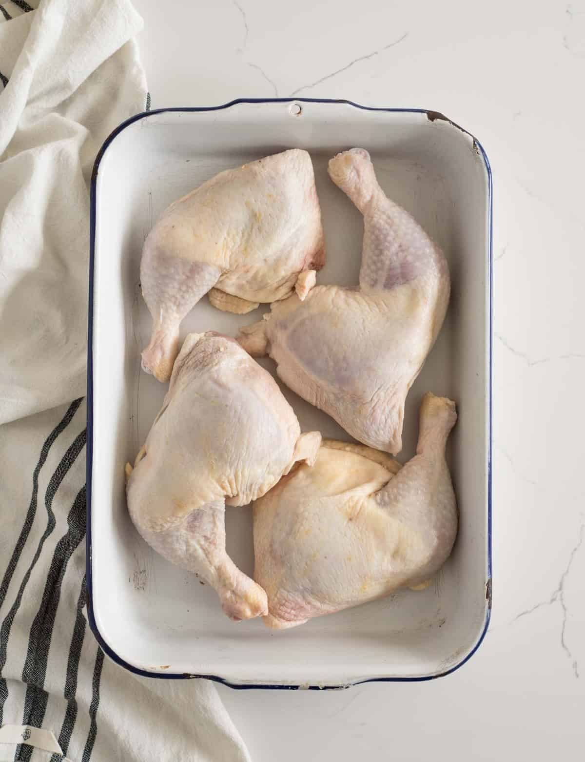 Ever wonder how long to bake chicken leg quarters, thighs, or legs? This post will tell you just that plus the difference in various cuts, and how to best cook them.