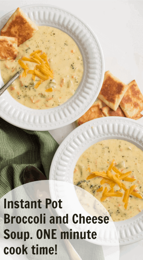 Title Image for Instant Pot Broccoli and Cheese Soup with two white bowls of Broccoli and Cheese Soup topped with shredded cheese and served with squares of bread