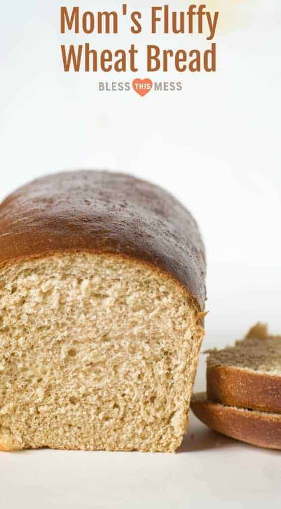 Title Image for Mom's Fluffy Wheat Bread and a loaf of homemade wheat bread with a couple slices cut