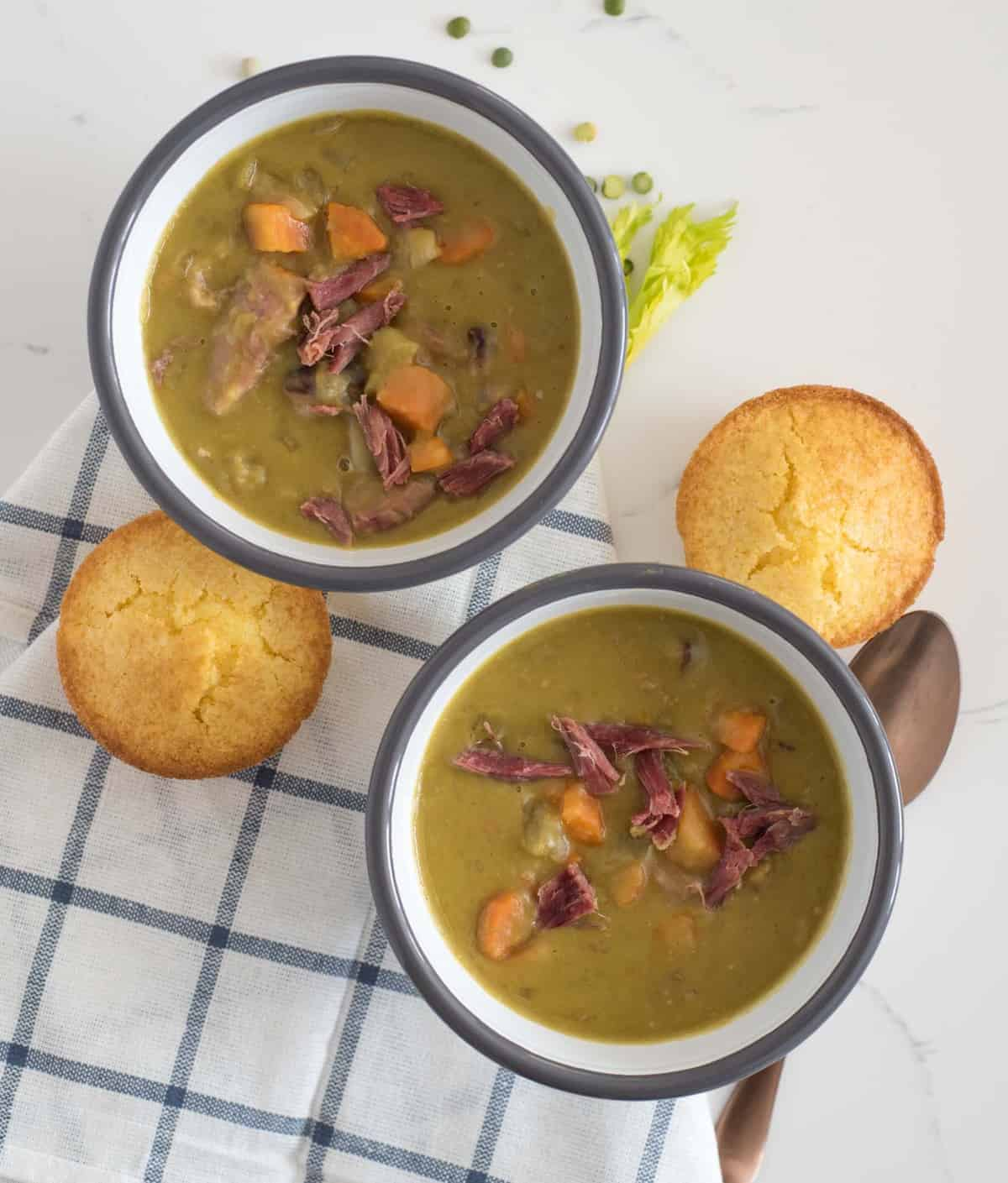 Quick and easy Instant Pot Split Pea Soup made with just a few ingredients and done in about 4o minutes start to finish.