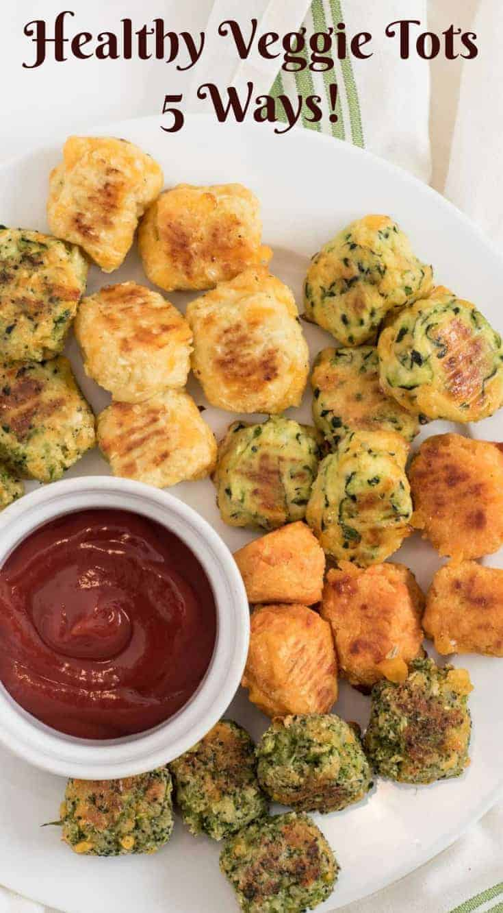 Recipes for healthy veggie tots including broccoli tots, cauli-tots, sweet potatoes tots, zucchini tots, and mixed veggie tots! Perfect for making veggies fun for kids and adults both!