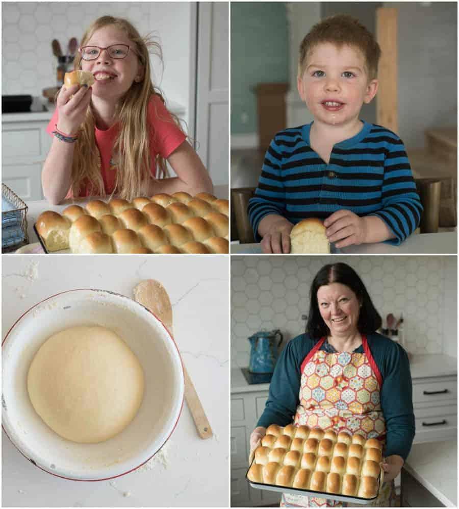 family enjoying dinner rolls