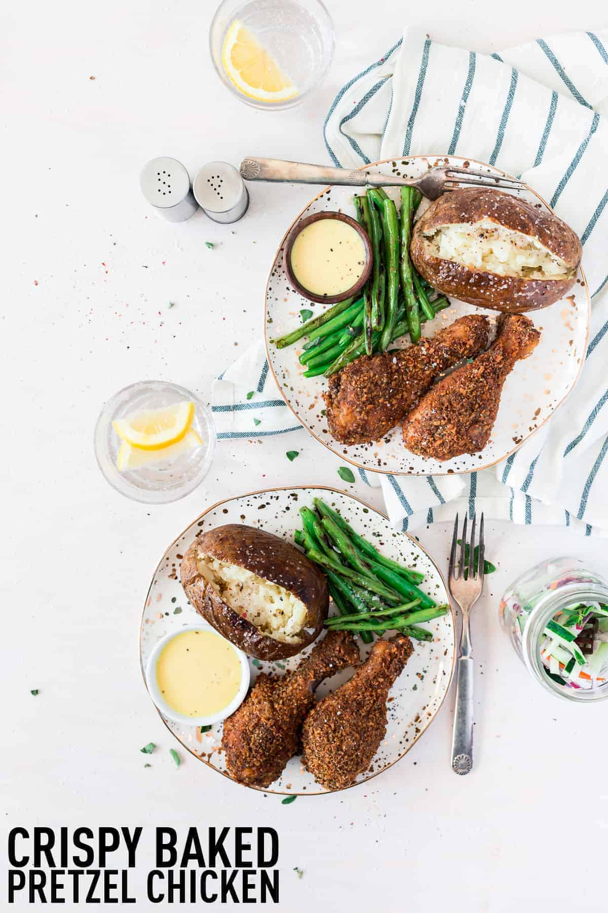 Delicious crispy baked chicken drumsticks made with a homemade pretzel and spices coating which makes the crispiest chicken legs on the block, no frying needed!