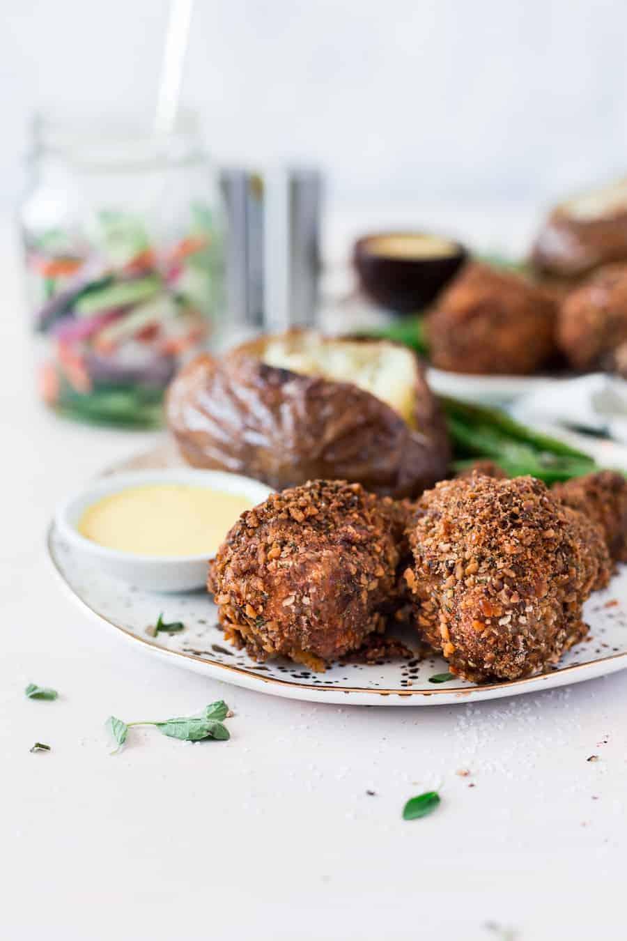 Crispy Baked Chicken Drumsticks + Pretzel Coating | Chicken Leg Recipe