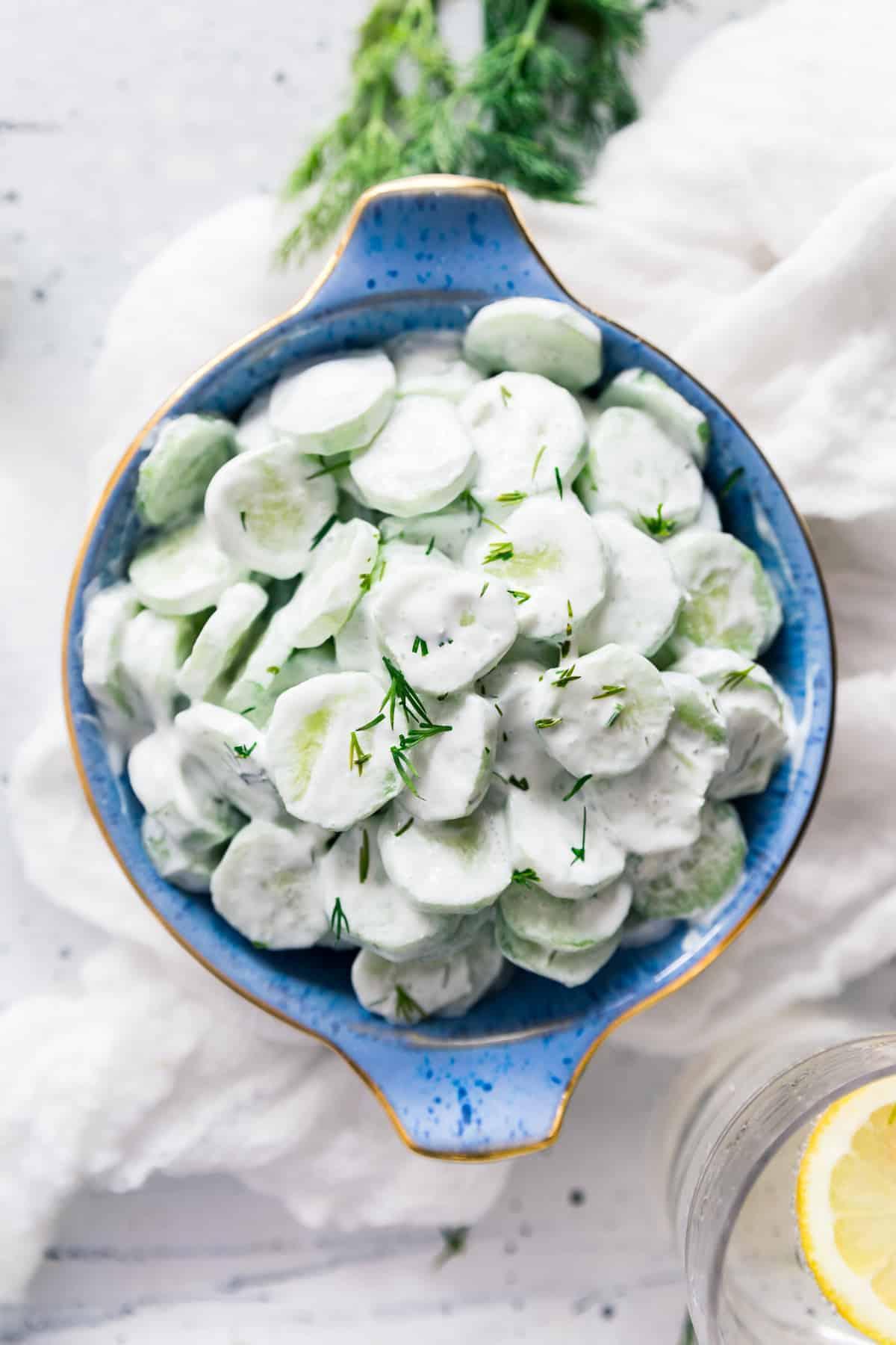Bowl of cucumber salad