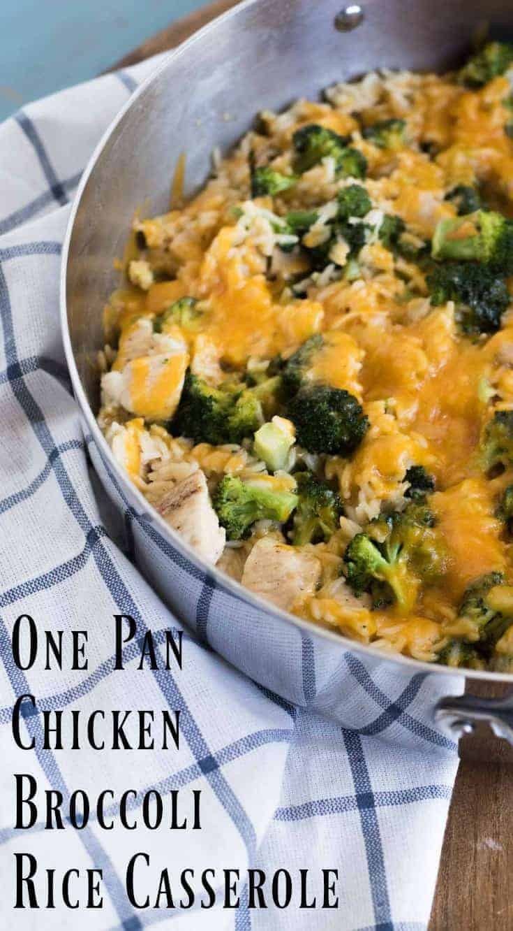 Quick and easyOne Pot Chicken Broccoli Rice Casserole that is on the table in only 30 minutes.