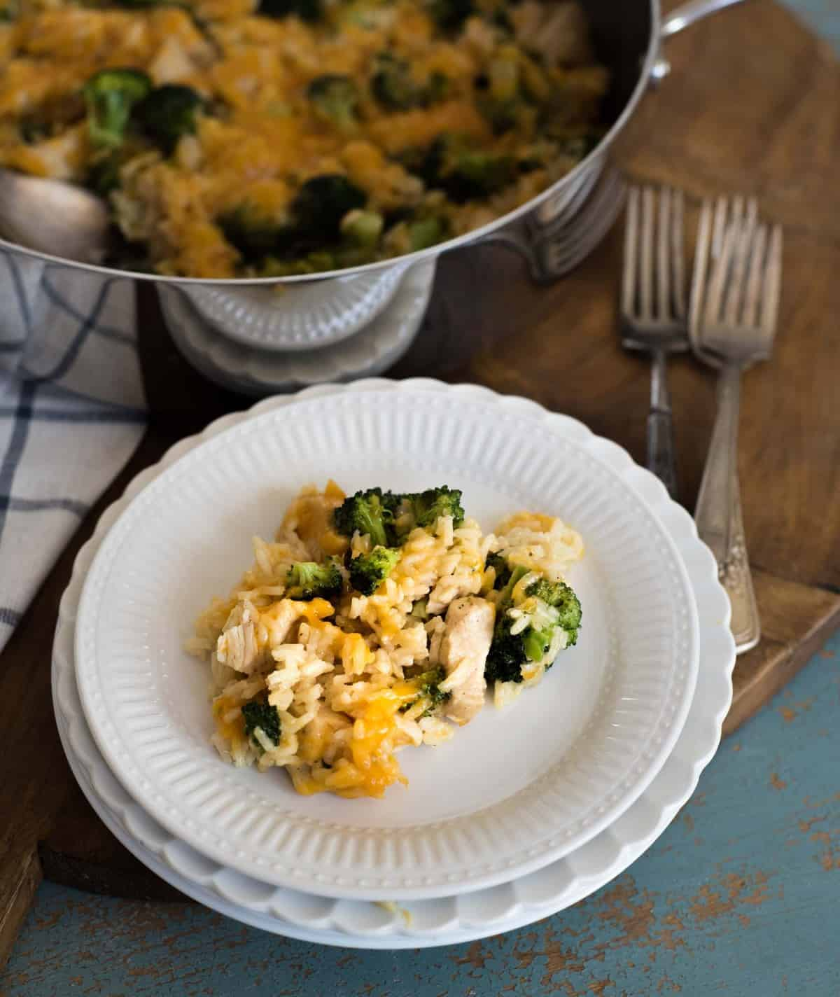 Quick and easyOne Pot Chicken Broccoli Rice Casserole that is on the table in only 30 minutes
