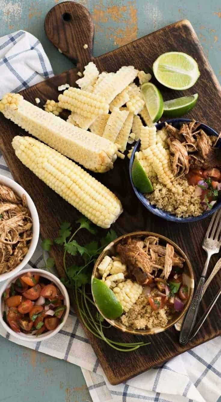 Chipotle Chicken Burritos Bowls are a quick and easy dinner idea that the whole family will love because everyone can build their own bowl, just how they like it.