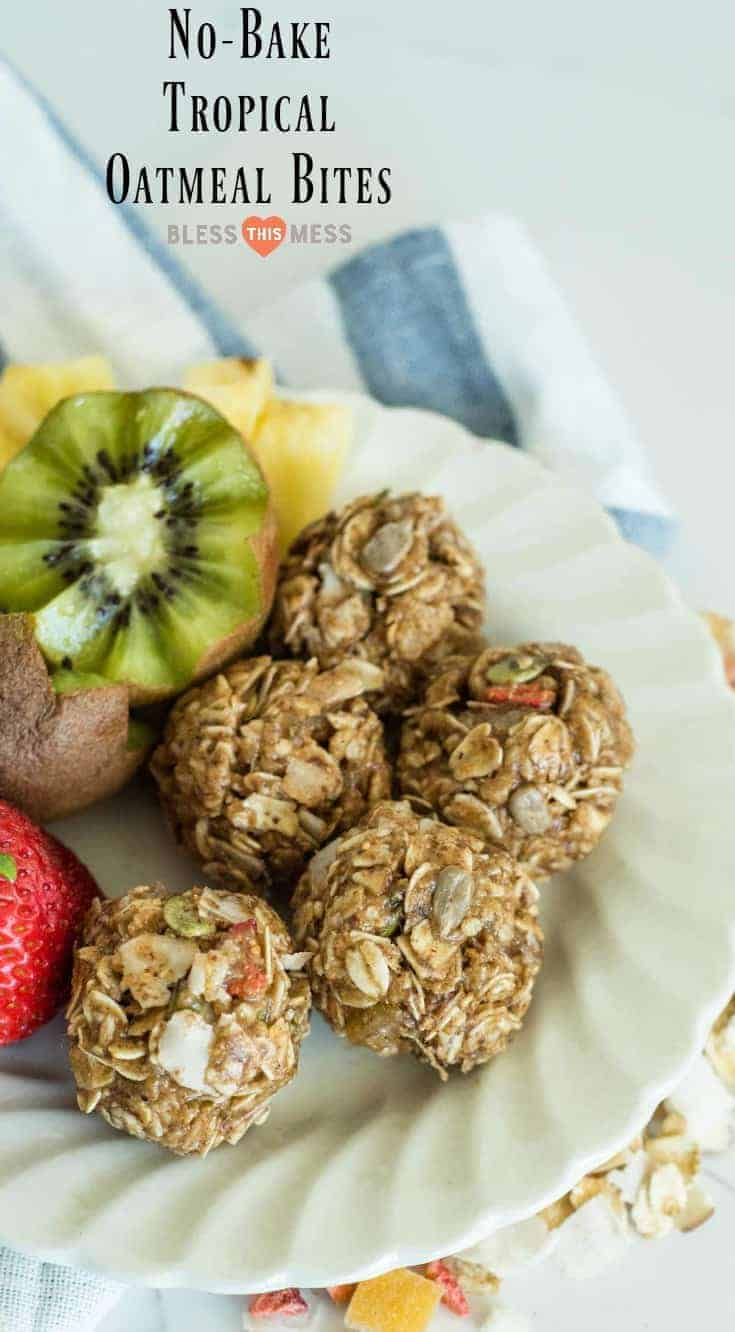 3 Ingredient No Bake Muesli Bitesmade with tropical muesli, almond butter, and honey that only take 1 minute to stir together.