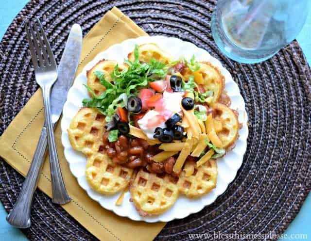Cornbread Waffles with Chili - 15 Minute Dinner