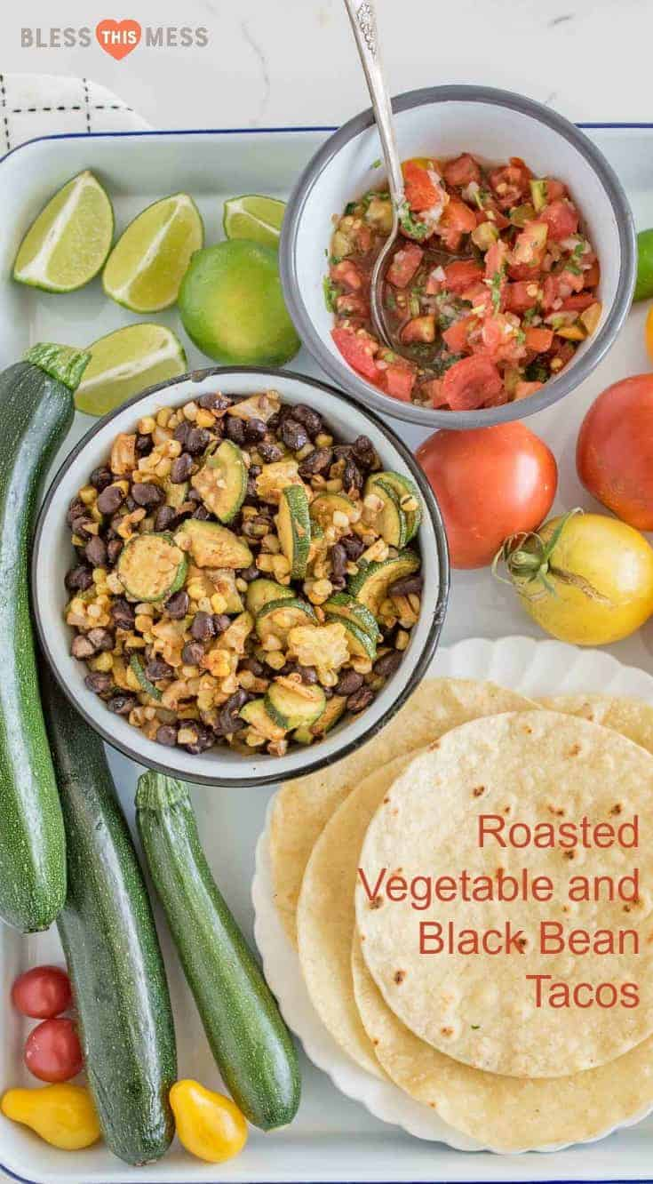 Quick and easy20 Minute Roasted Zucchini, Corn, and Black Bean Tacos are loaded with flavor, baked in the oven, and the whole family will love them!