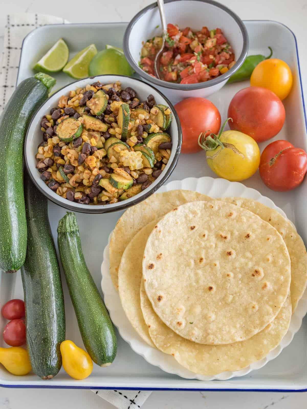 Image of a Roasted Zucchini, Corn & Black Bean Taco Platter