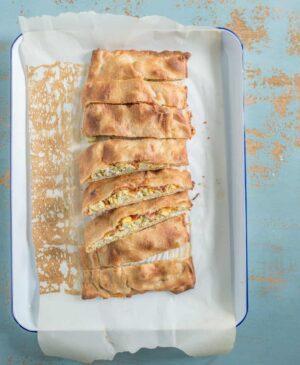 Pan of oven-baked breakfast pizza sticks
