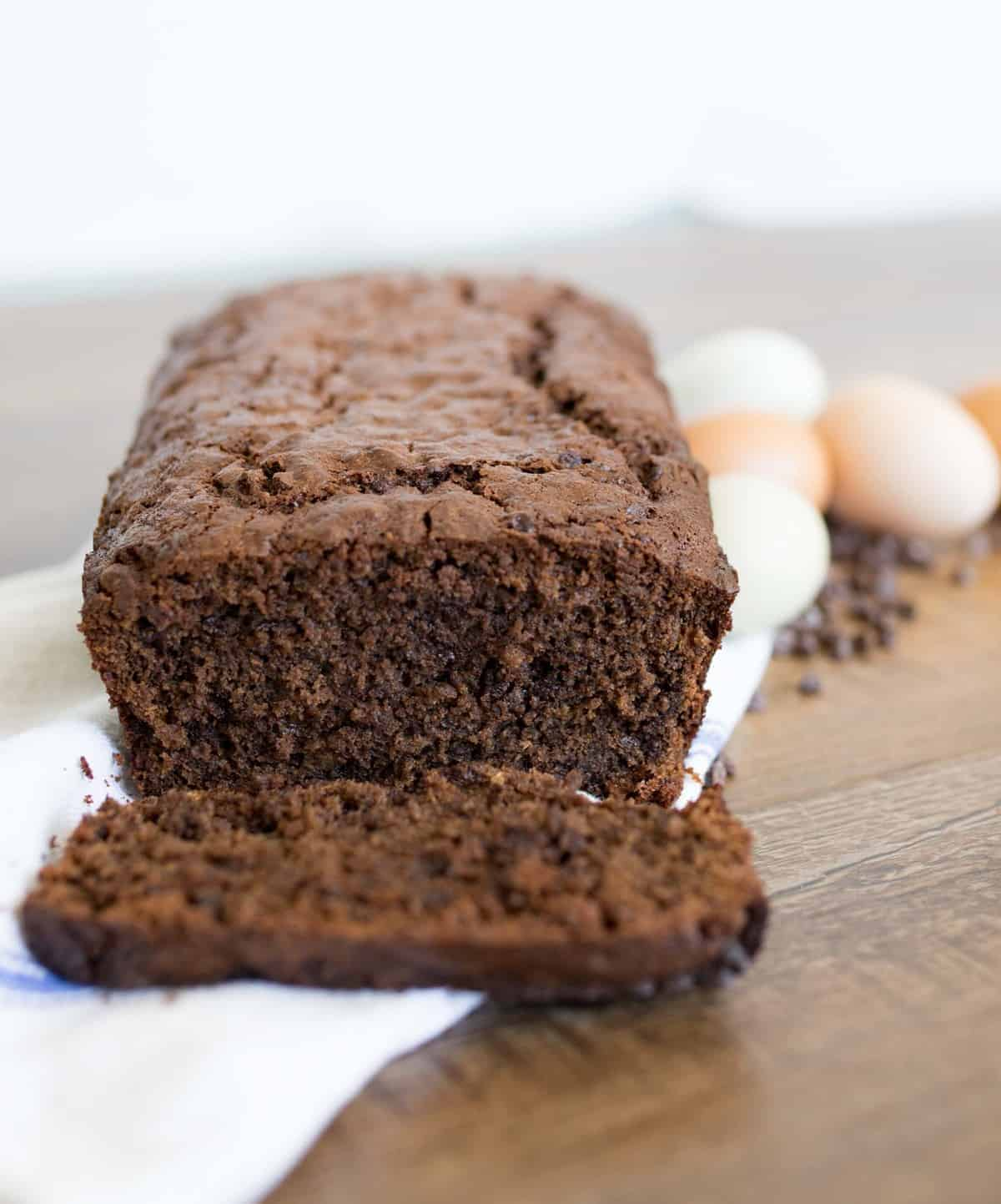 Chocolate zucchini bread that is rich, moist, and perfectly sweet with the addition of chocolate chips for good measure.