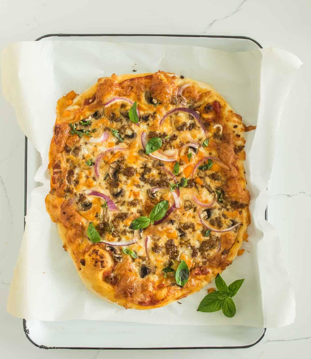 Image of homemade supreme pizza
