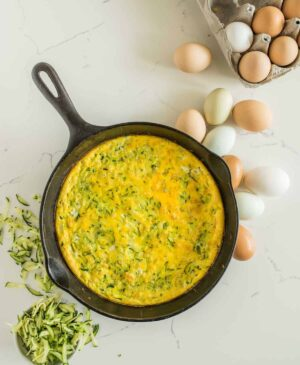 Pan of zucchini egg bake