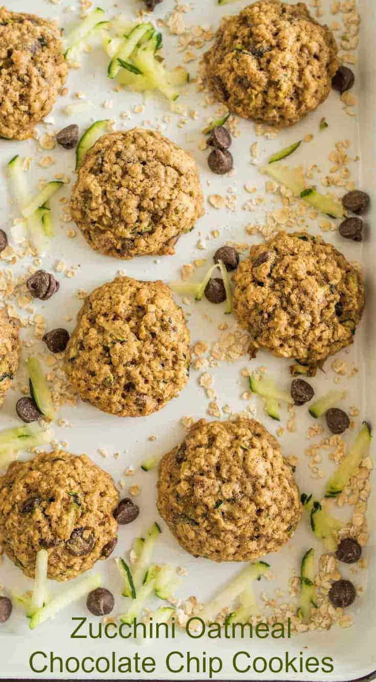 Chocolate Chip Oatmeal Zucchini cookies made with whole wheat flour, oats, chocolate chips, pecans, and shredded zucchini.