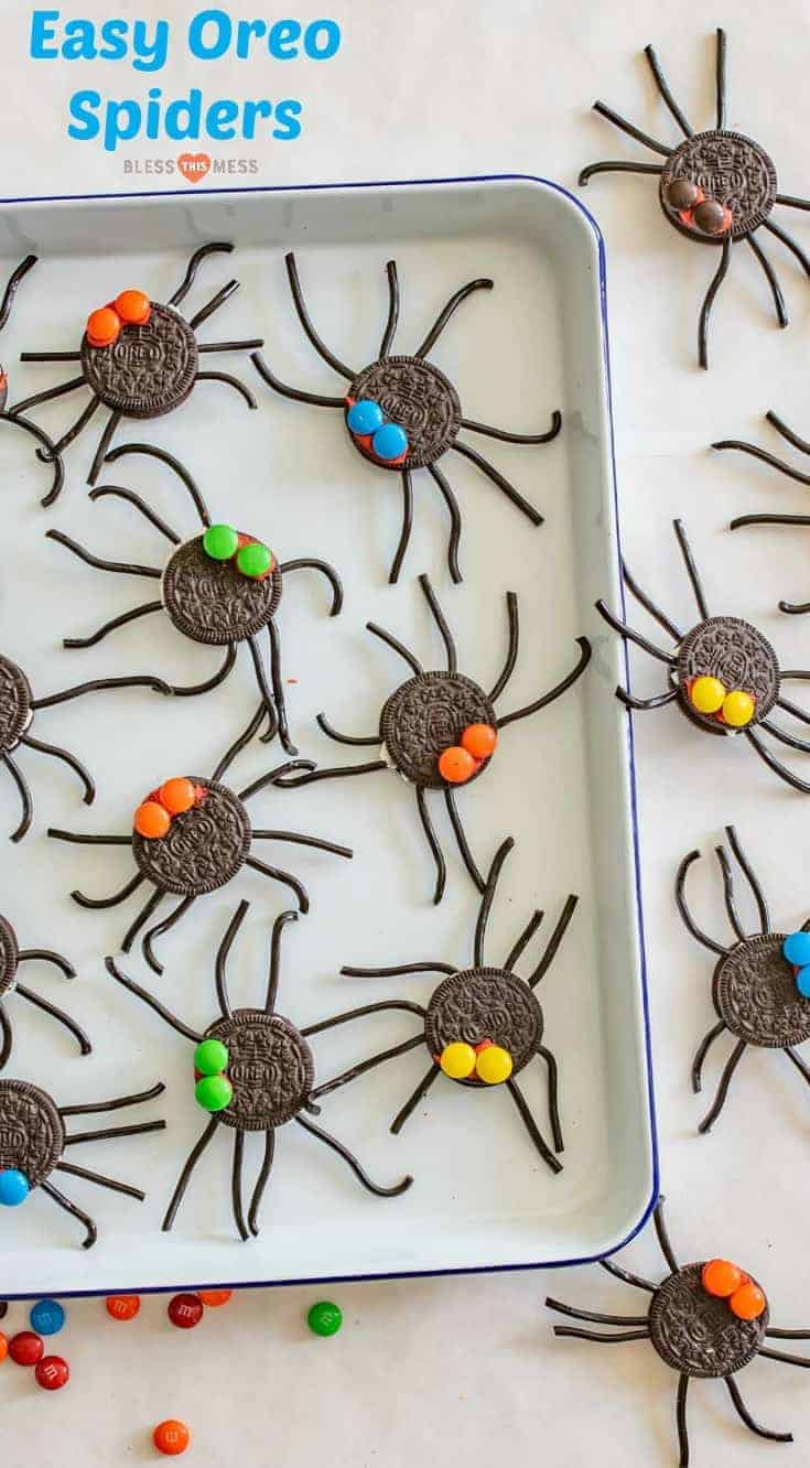 Easy Oreo Spider Halloween Snacks are made with cookies, licorice, and chocolate candies and make the perfect edible craft project.
