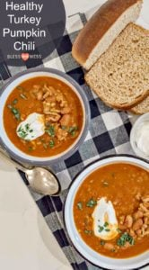 Quick and easy and healthy turkey pumpkin chili recipe made with ground turkey, canned tomatoes, pumpkin puree, beans, and lots of hearty spices.
