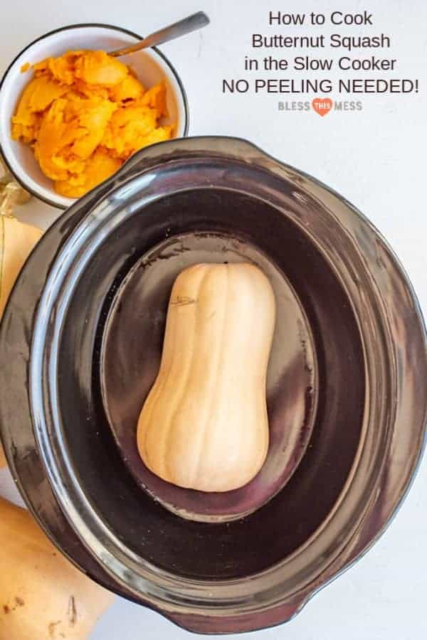 How to cook a whole butternut squash in the slow cooker, which is the easiest way to cook one! No need to peel or remove the seeds before cooking.
