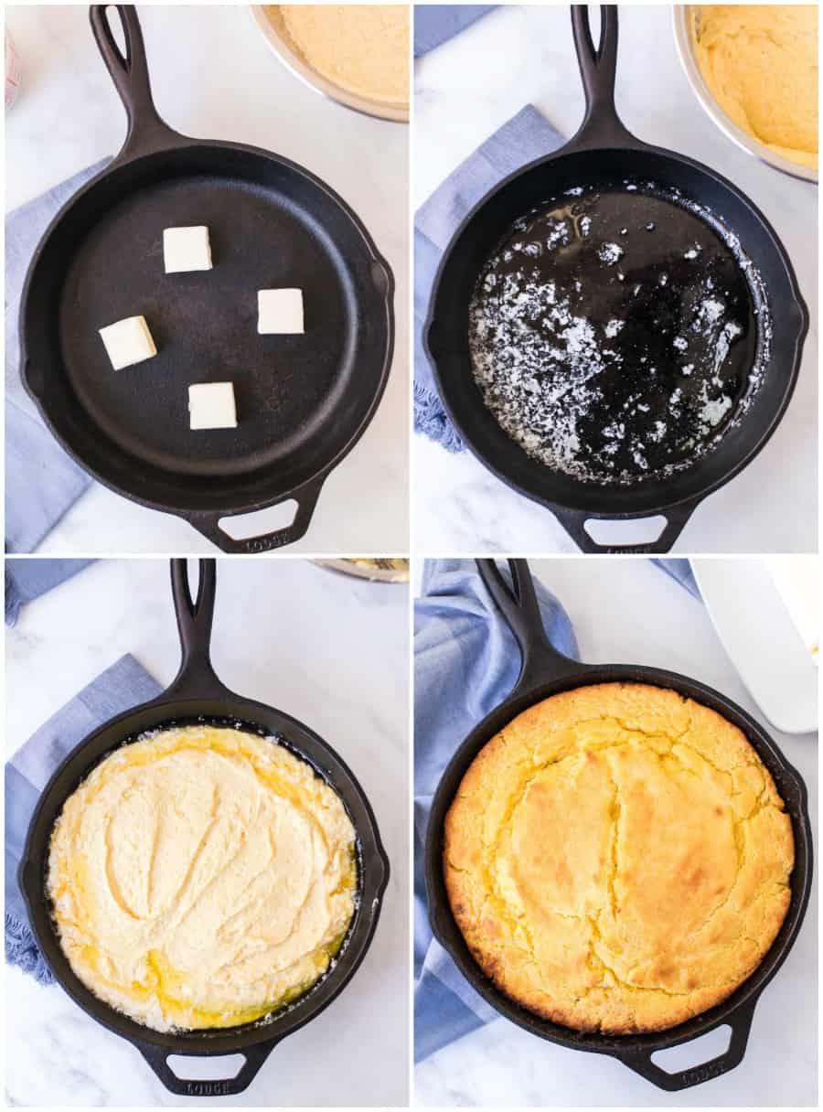 skillet cornbread how to image: 4 steps in making cast iron skillet 1. butter in pan 2. melt butter 3. add batter 4. cook