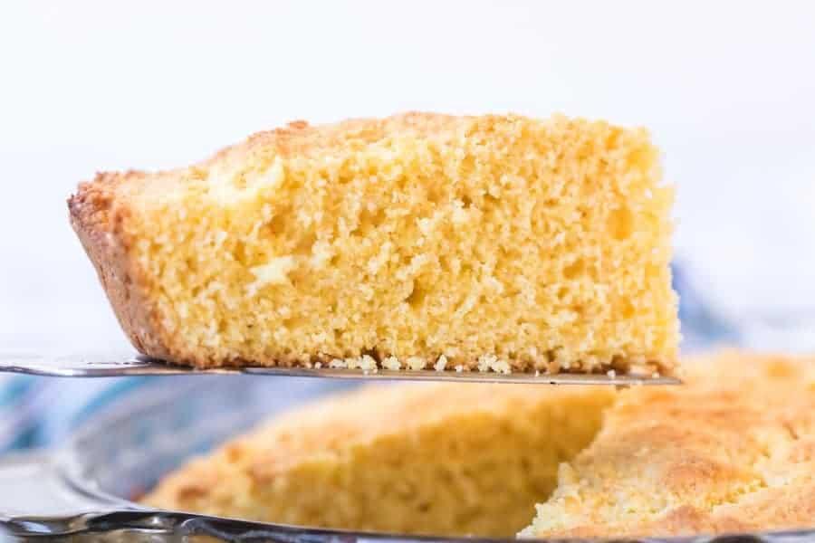 slice of sour cream cornbread on spatula