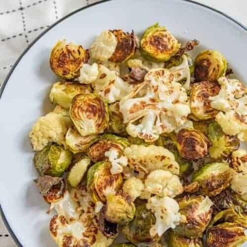 Simple Roasted Brussels Sprouts and Cauliflower