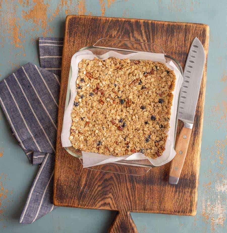 My all-time favorite blueberry walnut granola bar recipe made with whole grain oats, nuts, honey, and a few other simple ingredients.