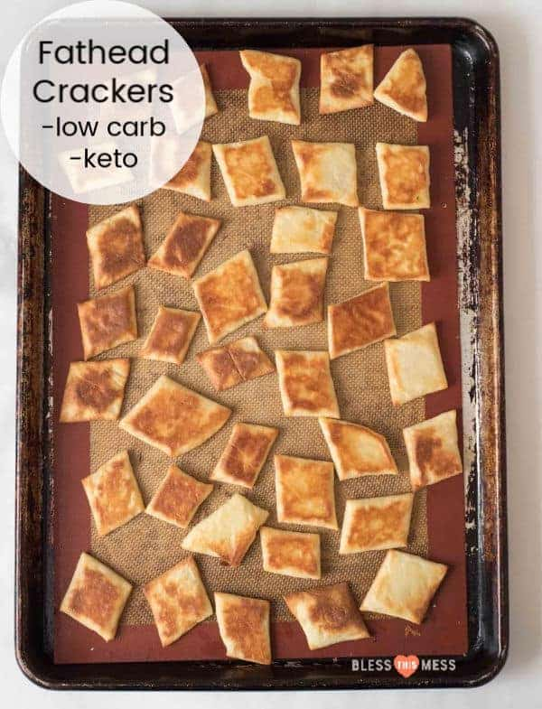 Title Image for Fathead Crackers and a baking sheet of diamond-shaped golden brown homemade crackers
