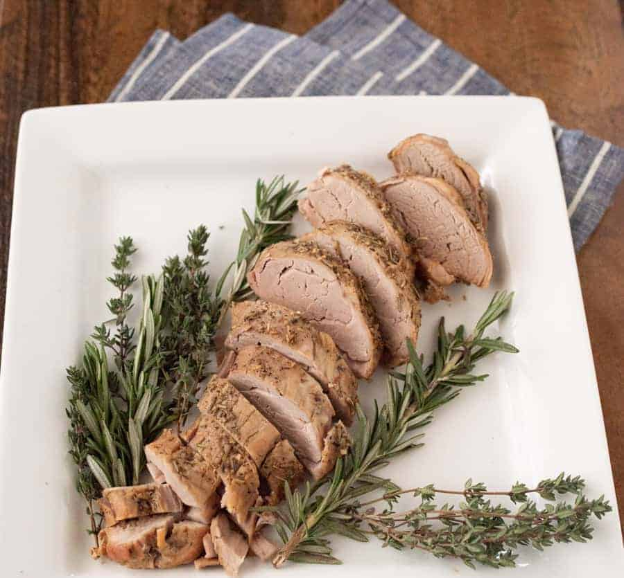 Garlic Herb Crock Pot Pork Tenderloin