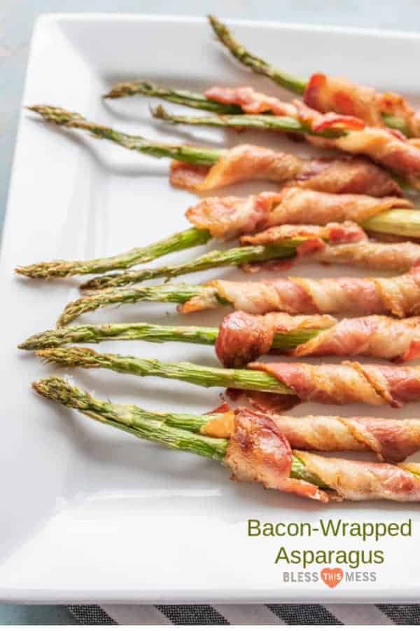 Title Image and a platter of Bacon-Wrapped Asparagus