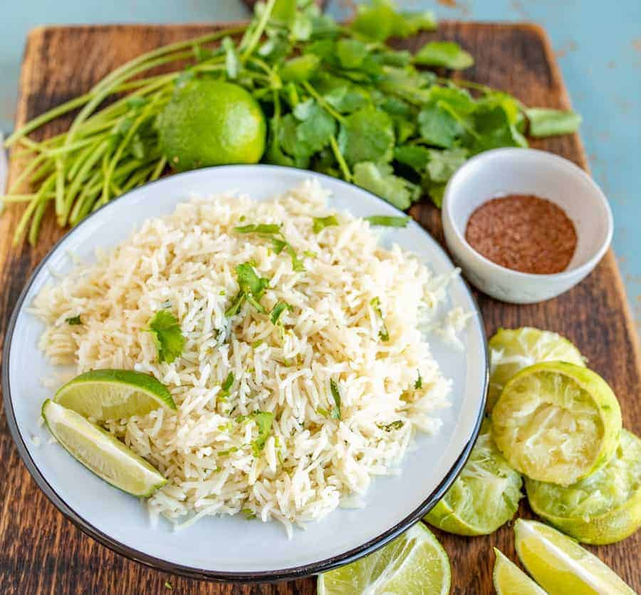 Flavorful Cilantro Lime Rice made in the Instant Pot with loads of bright lime and cilantro flavor and done in less than 30 minutes.