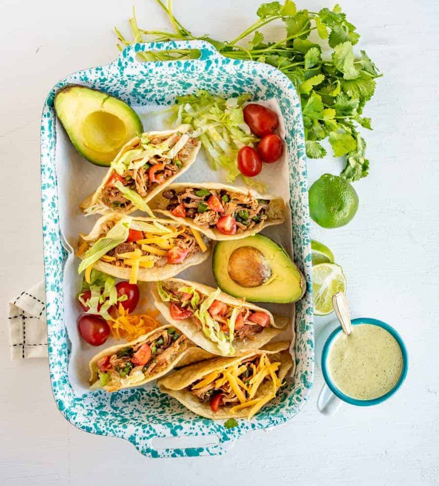 Pork tacos in a dish ready to eat