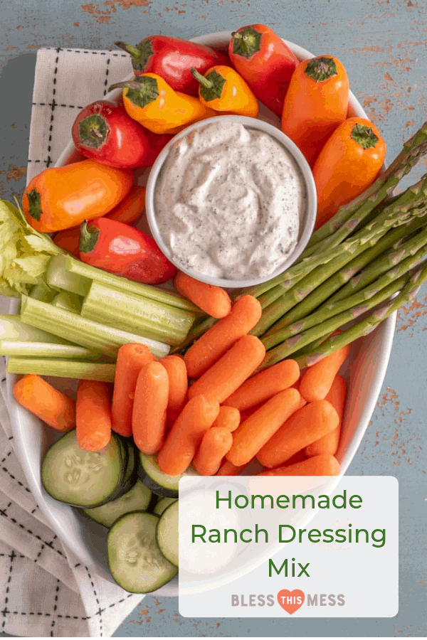ranch dressing surrounded by fresh vegetables