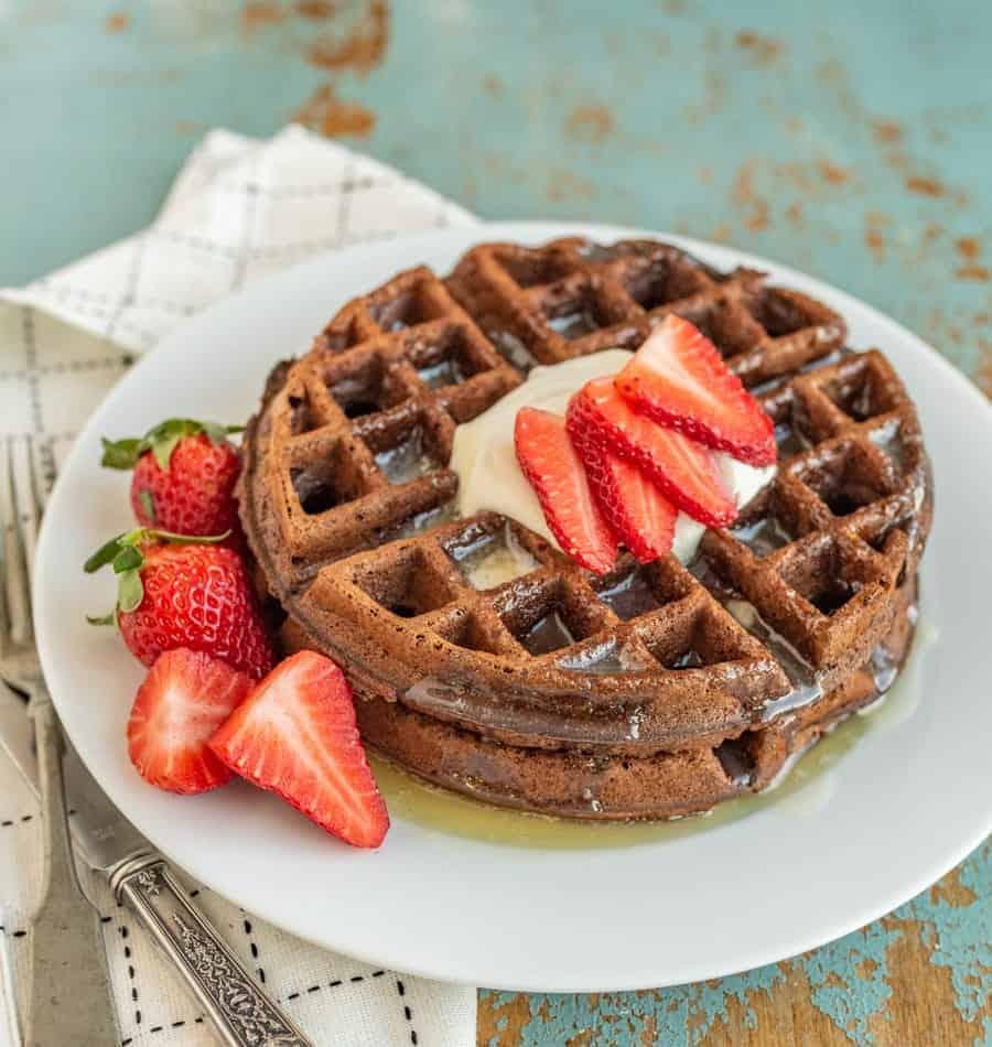 Easy Chocolate Waffles Recipe | Fluffy, Rich Chocolate Waffles